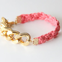 Gold Extra chunky chain with Pink leather braid by TheUrbanLady