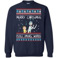 rick and morty merry christmas peace among worlds sweater, T-Shirt