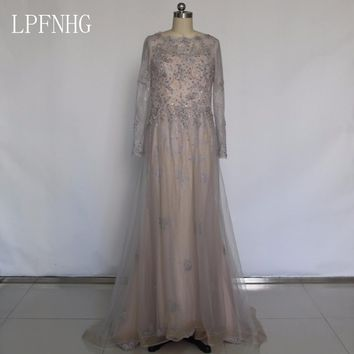A-line Long Prom Dresses 2018 Scoop Long Sleeve Backless Sweep Train Lace and Crystals Applique Evening Dress 2017