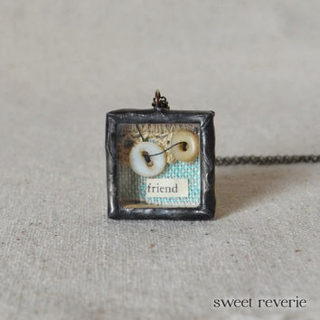 Friendship Necklace, Miniature Shadow Box Necklace, Altered Art Vintage Button Ephemera Reliquary Jewelry, Gift for Friend Bridesmaid