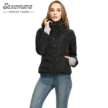 Girl Winter Zipper Jacket Women Parka Thicken Outerwear Anorak Women Down Parka Coats, Short Slim Design Cotton-padded Plus Size