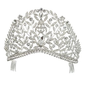DK FASHION Princess Flower Crystal Girls Hair Tiara Crown Large Hair Combs hair jewelry