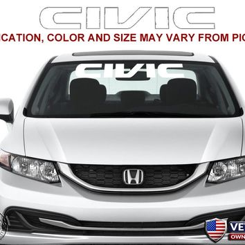Honda Civic Windshield Window Banner Ver. 3 Vinyl Decal Accessory Sticker