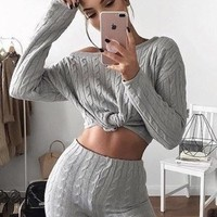 Quilted Lounge Set Grey