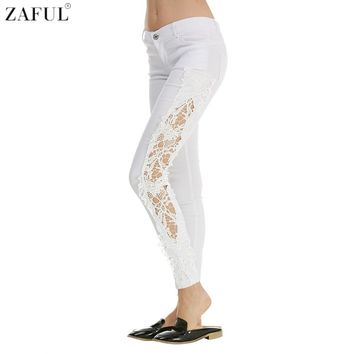 ZAFUL Sexy Women's Denim White Skinny Jeans Crochet Lace Club Party Pants Boyfriend Jeans for Women Pencil Pants Ripped Apparel