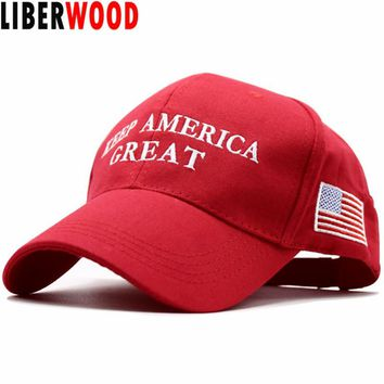 LIBERWOOD 2020 Donald Trump Red Hat Re-Election Keep America Great Embroidery USA Flag MAGA New Cap Cotton Baseball Hat cap