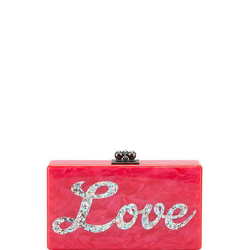Edie Parker Jean Love Acrylic Clutch Bag, Hot Pink Multi