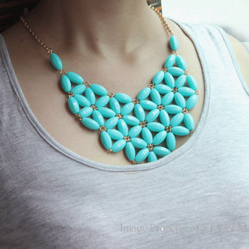 Teal Bib Necklace, JCrew Inspired Floral Collar Jewelry,Statement Necklace,Chunky Necklace