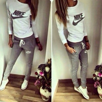 "Fashion ""NIKE"" Long Sleeve Shirt Sweater Pants Sweatpants Set Two-Piece Sportswear"