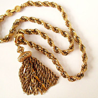 Vintage MONET Tassel Gold Necklace Big Bold Outstanding 1963 Thick Rope Chain Fancy Clasp Excellent Condition Wow! 24 Inches Plus 4 Pendant
