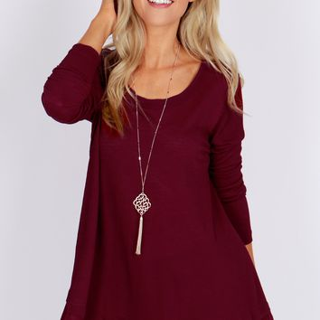 Scoop Neck Waffle Top Burgundy
