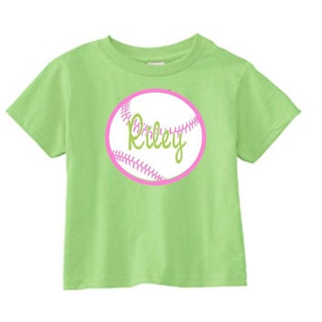 Girl's Softball on Personalized Lime T-Shirt