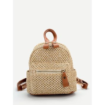 Pocket Front Straw Backpack