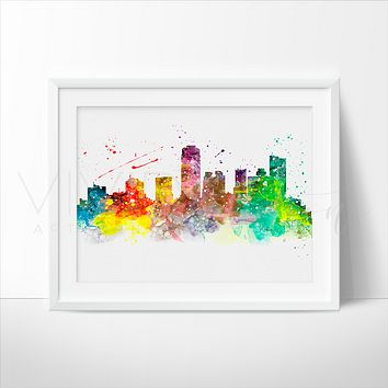 Phoenix Skyline Watercolor Art Print