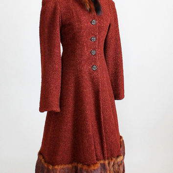 Vintage 1930s Coat : 30s Wool Princess Coat with Mink Trim