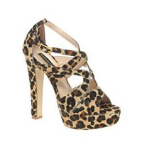 River Island Leopard Print Strapped Heeled Sandal at ASOS