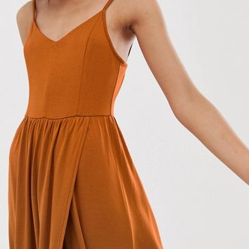 Monki wrap front cami dress in rust | ASOS