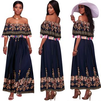 Bohemian Off Shoulder Falbala Short Sleeves Long Party Dress
