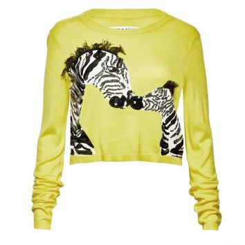 alice + olivia | KHAN ZEBRA CROPPED SWEATER