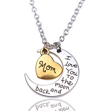Hand stamped I Love You to the Moon and Back Charm Necklace Silver Gold Mom +Gift Box