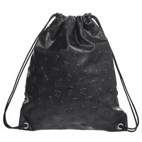 Goth Embossed Skull Design Black Drawstring Backpack
