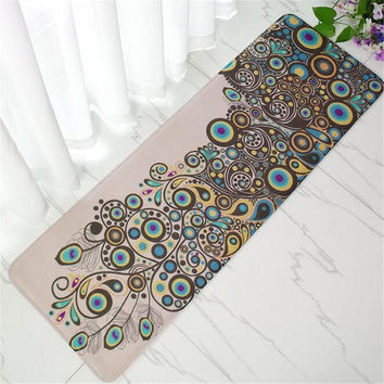 Peacocks Bamboo Wood Floor Mat Print Bathroom Carpet Entrance Doormat Rug Anti-Slip Rectangular Bedroom Kitchen