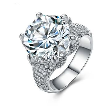 Crown Luxury White Gold Plated Engagement Ring