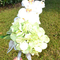 Wedding Bouquet With White Orchids and Green Peonies
