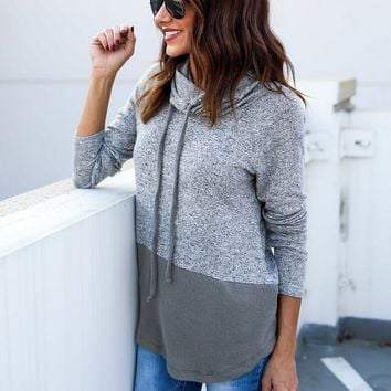 Womens Gray Loose Long Sleeve Shirts Blouse +Gift Necklace
