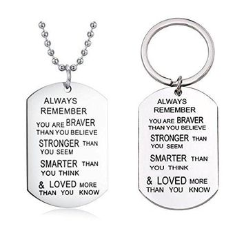 AUGUAU 'You are braver than you believe' + 'She believed she could so she did' with Heart Tree of Life Necklace