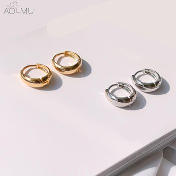 AOMU Gold Metal Silver Thick Small Hoop Earrings GD BTS Bangtan Boys Earrings Circle Round Huggie Earrings for Women Man Jewelry
