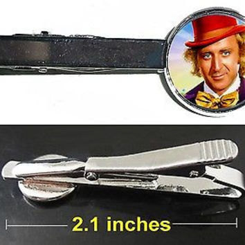 Willy Wonka Gene Wilder Chocolate Factory Tie Clip Clasp Bar Slide Silver Metal