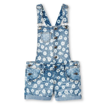 Cherokee Girls' Floral Shortall, Denim Blue, Small