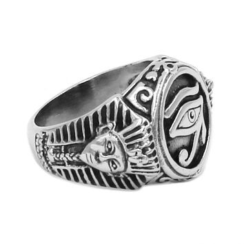 Egyptian Eye of Horus Ra Udjat Amulet Ring Stainless Steel Ring Egypt Pharaoh King Motor Biker Mens Women