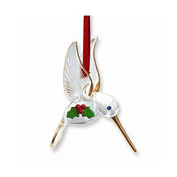 Hummingbird with Holly Glass Ornament
