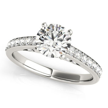 Dancing Diamonds Petite Classic Moissanite Engagement Ring 0.90 Ctw.