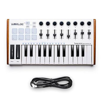 Worlde 25 Key USB Portable Tuna Mini MIDI Keyboard MIDI Controller (8 Knobs/8 Pads/8 Faders) with Wood Imitation Rim, Pedal Interface, for Mac and PC