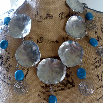 tribal gemstone necklace and 3 stone long earrings