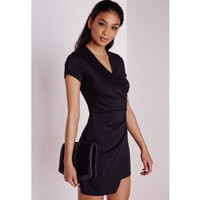 Short Sleeve Wrap Bodycon Dress Black - Dresses - Bodycon Dresses - Missguided