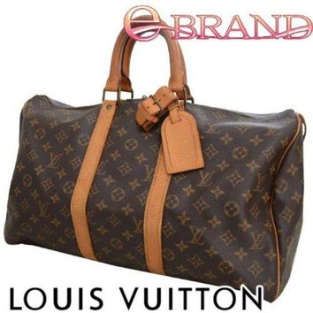 VOND4H Authentic Louis Vuitton monogram Keepall 45 travel/boston/luggage bag M41428