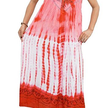 Mogul Women's Red Caftan Dress Embroidered Sleeveless Cover up