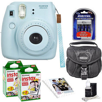 Fuji Instax Mini 8 Fujifilm Instant Film Camera Blue + 40 Film + Accessory Kit