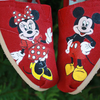 Mickey and Minnie Mouse Original Custom Acrylic Painting for Toms Shoes
