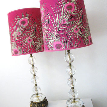 50s Vintage Stacked CUT CRYSTAL BALL Pair of Lamps by fabulousmess