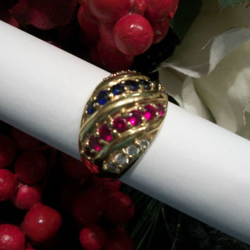 Women's Ring Red White and Blue Ruby Sapphire CZ Wide Dome Sterling Silver with 10k Gold Overlay Size 9 Vintage Jewelry