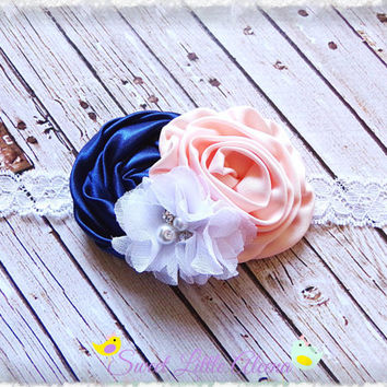Navy Peach White Headband - Flower Girl Headband - Elegant Hair Bow - Fancy Newborn Prop - Satin Hairband - Rhinestone Pearl Hair Clip Bows
