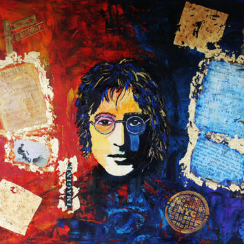 ART John LENNON Large Canvas Acrylic Painting Modern Contemporary Wall Home Decor ORIGINAL Home & Living Office Art By Kathleen Artist Pro