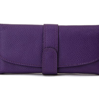Modern Flap Purple Ladies Leather Wallet. Cow Leather Long Wallet