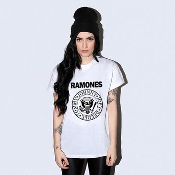 Rock Ramones 2017 Summer Letter Print T-shirt Women White T Shirt Tee Tshirt Harajuku Swag Punk Tee Tops Clothes tumblr unicorn
