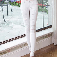 Slim show thin fashion broken hole all-match jeans